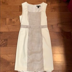 White cream and tan business casual dress